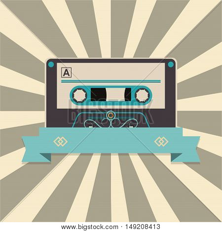 audio cassette tape over striped background and banner image vector illustration