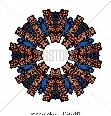 Mandala pattern in shades of blue, orange, white. letter V around circle.boho style