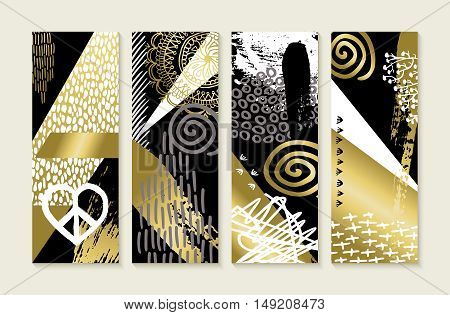 Gold Hand Drawn Illustration Abstract Art Set