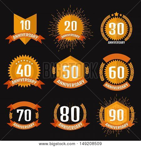 Anniversary banner logo set. Stock vector. Vector illustration.