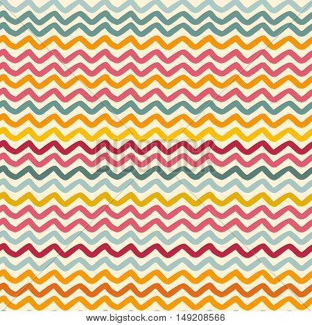 Vector seamless pattern with color wavy lines motif can be used in textiles for book design website background