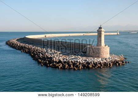 LIVORNO, ITALY, AUGUST 27, 2016: Lighthouse at the port