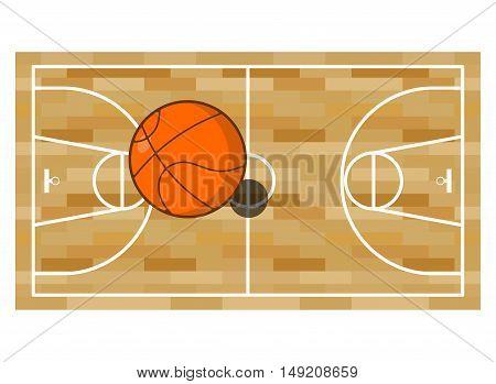 Basketball Field And Ball. Game Of Basketball. Orange Ball High