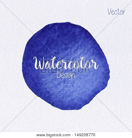 Hand painted indigo watercolor circle on realistic watercolor paper texture. Vector illustration.