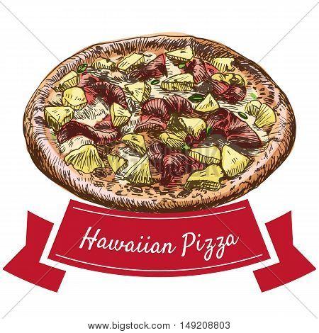 Hawaiian pizza colorful illustration. Vector colorful illustration.