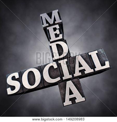Social media letterpress typesetting on dark background , 3d illustration