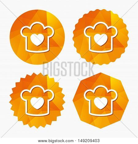 Chef hat sign icon. Cooking symbol. Cooks hat with heart love. Triangular low poly buttons with flat icon. Vector