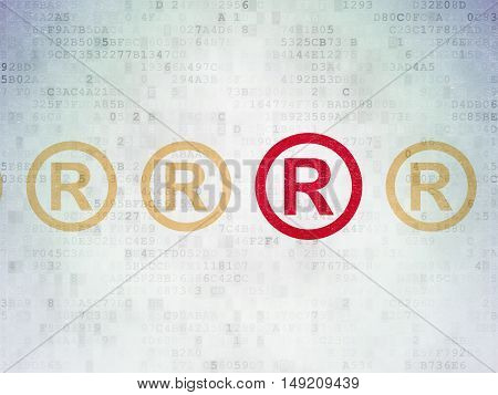Law concept: row of Painted yellow registered icons around red registered icon on Digital Data Paper background
