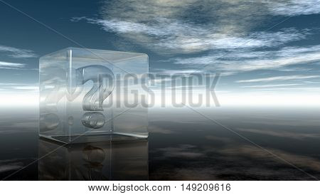 question mark in glass cube under cloudy sky - 3d rendering