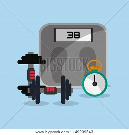flat design weights lifting with fitness lifestyle related icons image vector illustration