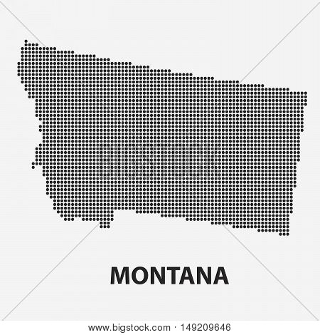 Dotted map of the State Montana. The form with black points on light background. Vector illustration.