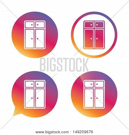 Cupboard sign icon. Modern furniture symbol. Gradient buttons with flat icon. Speech bubble sign. Vector