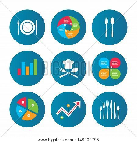 Business pie chart. Growth curve. Presentation buttons. Plate dish with forks and knifes icons. Chief hat sign. Crosswise cutlery symbol. Dessert fork. Data analysis. Vector