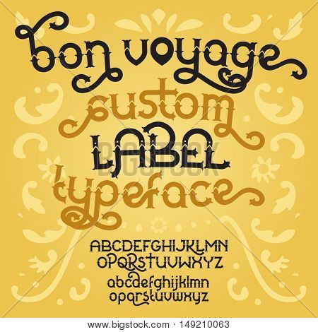 Custom retro typeface Bon Voyage. Vintage alphabet font set on the gold background. Vector illustration