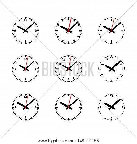 Clock Isolated on white background. Vector Illustration