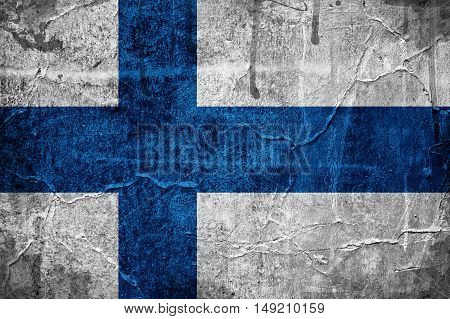 Flag of Finland overlaid with grunge texture
