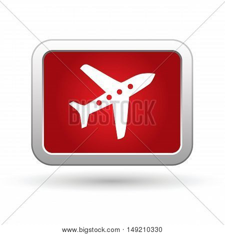 Airplane icon on the red button. Vector