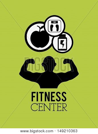 flat design fitness center with healthy lifestyle related icons emblem image vector illustration