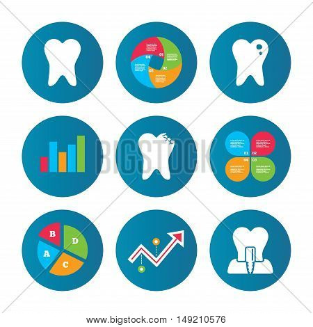 Business pie chart. Growth curve. Presentation buttons. Dental care icons. Caries tooth sign. Tooth endosseous implant symbol. Data analysis. Vector