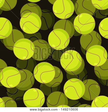 Tennis Ball 3D Seamless Pattern. Sports Accessory Ornament. Tennis Volume Background. Texture For Sp