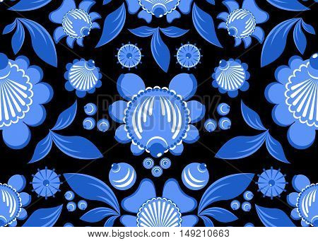 Gzhel Flower Seamless Pattern. Flowers And Leaves Ornament. Russian National Folk Craft. Traditional