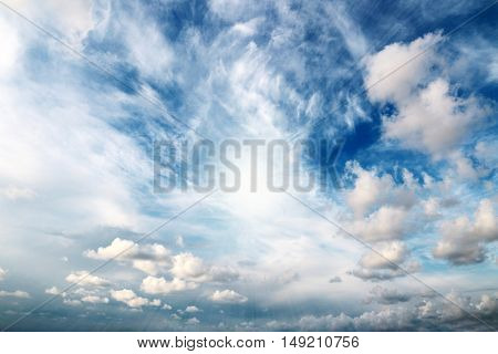 beautiful heavenly landscape with clouds and clear skies