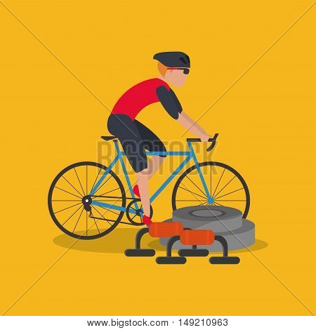 flat design bike and cyclist with fitness lifestyle related icons image vector illustration