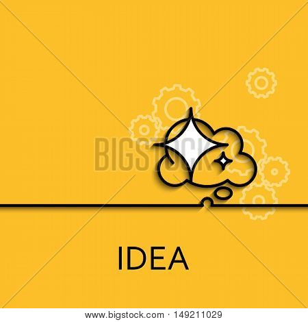 Vector business illustration in linear style with a picture of idea as star and cloud on yellow background poster or banner template.