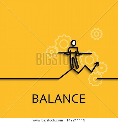 Vector business illustration in linear style with a picture of balance as man goes on yellow background poster or banner template.