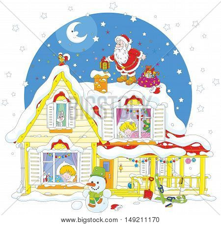 The night before Christmas, Santa Claus on the snow covered housetop with his holiday gifts for little children