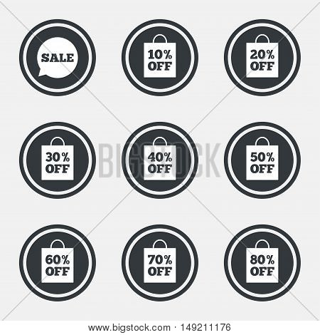 Sale discounts icons. Special offer signs. Shopping bag, price tag symbols. Circle flat buttons with icons and border. Vector