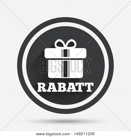 Rabatt - Discounts in German sign icon. Gift box with ribbons symbol. Circle flat button with shadow and border. Vector