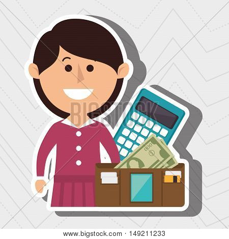woman calculator wallet money vector illustration eps 10