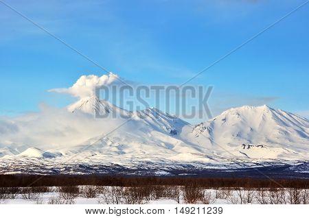 Kamchatka: winter view of eruption active Klyuchevskoy Volcano
