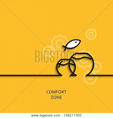 Vector business illustration in linear style with a picture of comfort zone as aquarium on yellow background poster or banner template.