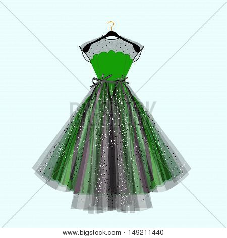 Beautiful party dress. Green dress with rhinestones. Vector fashion illustration. Dress for special event.