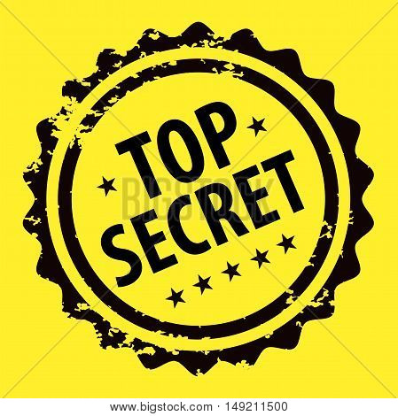 Top secret stamp isolated on yellow background