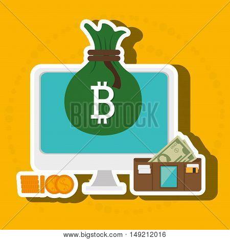 laptop search bit coin vector illustration eps 10