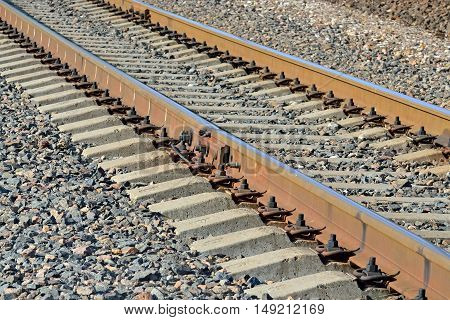 Arrow Rails. Rail and concrete sleepers closeup