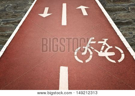 Close up of bicycle sign on the bicycle lane
