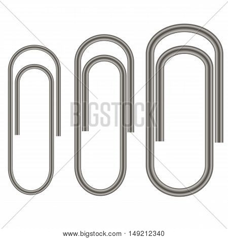 Set of Paper Clips Isolated on White Background