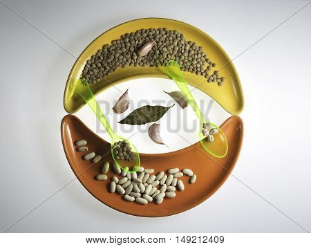 variety of legumes and two plastic spoons on colorful ceramic