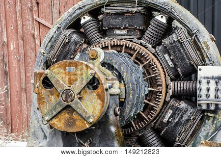 large abandon industrial deteriorating electric power motor