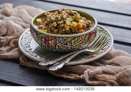 Saute Vegetables Zucchini Eggplant Tomato And Pepper