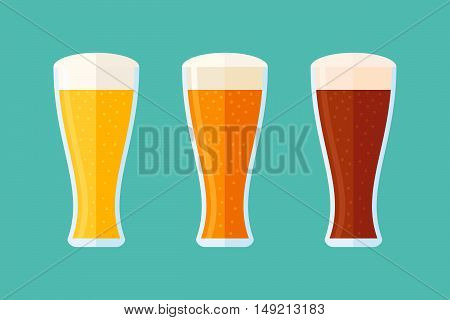 Different beer types: classic white, light and dark. Set of glasses with beer. Flat style horizontal banner. Vector illustration.