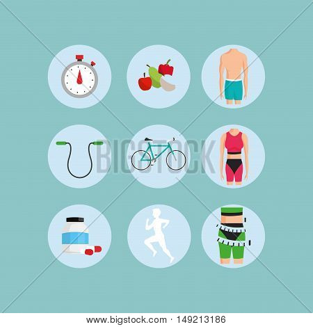 flat design assorted fitness lifestyle related icons image vector illustration