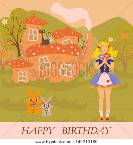 the beautiful and bright illustration - birthday greetings.