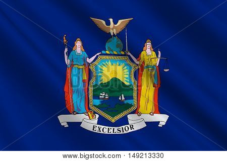 Flag of New York is a state in the Northeastern United States. 3D illustration