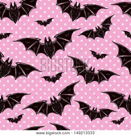 Seamless Halloween pattern. Halloween bats. Hand drawn holiday symbols. Isolated vector illustration. Cute gothic style art.