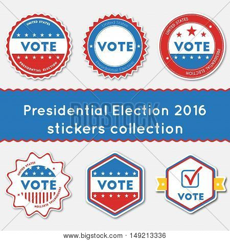 Presidential Election 2016 Stickers Collection. Buttons Set For Usa Presidential Elections 2016. Col